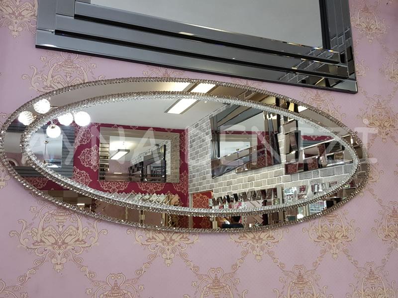 Elips Çift Taş Model Taşlı Ayna