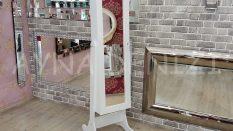 Beyaz Renk Ayaklı Boy Aynalı Takı Dolabı