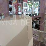 Krem Renk Ayaklı Boy Aynalı Takı Dolabı-13