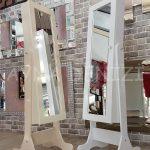 Krem Renk Ayaklı Boy Aynalı Takı Dolabı-20