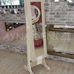 Krem Renk Ayaklı Boy Aynalı Takı Dolabı-4