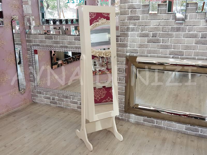 Krem Renk Ayaklı Boy Aynalı Takı Dolabı