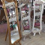 Bihter Model Eskitme Beyaz Renk Ayaklı Boy Aynası-19