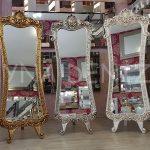Bihter Model Eskitme Beyaz Renk Ayaklı Boy Aynası-20