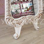 Bihter Model Eskitme Beyaz Renk Ayaklı Boy Aynası-9