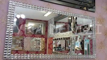 Dikdörtgen Zarif Taş Model Taşlı Ayna