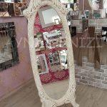 Zarif Model Eskitme Beyaz Renk Ayaklı Boy Aynası-1