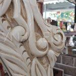 Zarif Model Eskitme Beyaz Renk Ayaklı Boy Aynası-11