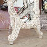 Zarif Model Eskitme Beyaz Renk Ayaklı Boy Aynası-16