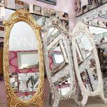 Zarif Model Eskitme Beyaz Renk Ayaklı Boy Aynası-21