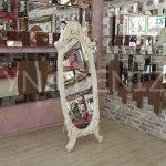 Zarif Model Eskitme Beyaz Renk Ayaklı Boy Aynası-4