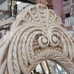 Zarif Model Eskitme Beyaz Renk Ayaklı Boy Aynası-5