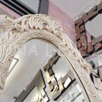 Zarif Model Eskitme Beyaz Renk Ayaklı Boy Aynası-7