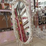 Zarif Model Gümüş Renk Ayaklı Boy Aynası-1