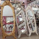 Zarif Model Gümüş Renk Ayaklı Boy Aynası-21