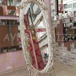 Zarif Model Gümüş Renk Ayaklı Boy Aynası-4