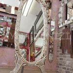 Zarif Model Gümüş Renk Ayaklı Boy Aynası-5