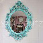 Vintage Taç Model Turkuaz Renk Dekoratif Ayna-1