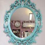 Vintage Taç Model Turkuaz Renk Dekoratif Ayna-2