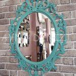 Vintage Taç Model Turkuaz Renk Dekoratif Ayna-3