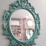 Vintage Taç Model Turkuaz Renk Dekoratif Ayna-4