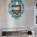 Vintage Taç Model Turkuaz Renk Dekoratif Ayna-5