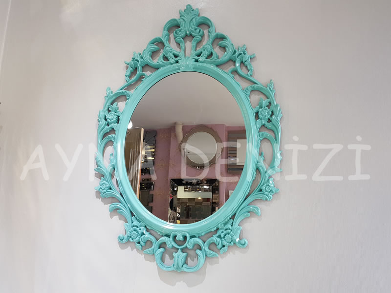 Vintage Taç Model Turkuaz Renk Dekoratif Ayna