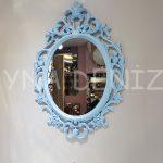 Vintage Taç Model Açık Mavi Renk Dekoratif Ayna-1
