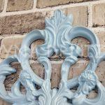 Vintage Taç Model Açık Mavi Renk Dekoratif Ayna-12