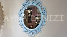 Vintage Taç Model Açık Mavi Renk Dekoratif Ayna