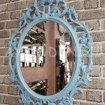 Vintage Taç Model Açık Mavi Renk Dekoratif Ayna-3