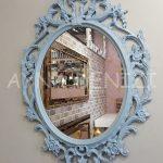 Vintage Taç Model Açık Mavi Renk Dekoratif Ayna-4