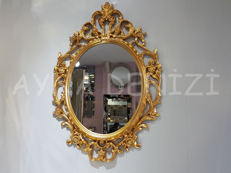 Vintage Taç Model Altın Renk Dekoratif Ayna
