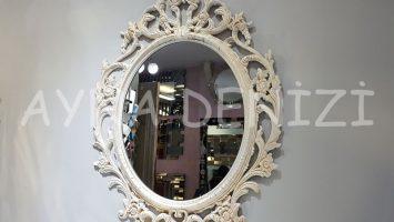 Vintage Taç Model Çatlak Altın Krem Renk Dekoratif Ayna