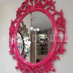 Vintage Taç Model Fuşya Renk Dekoratif Ayna-2
