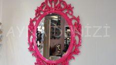Vintage Taç Model Fuşya Renk Dekoratif Ayna