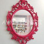 Vintage Taç Model Fuşya Renk Dekoratif Ayna-4