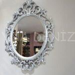 Vintage Taç Model Gümüş Renk Dekoratif Ayna-1