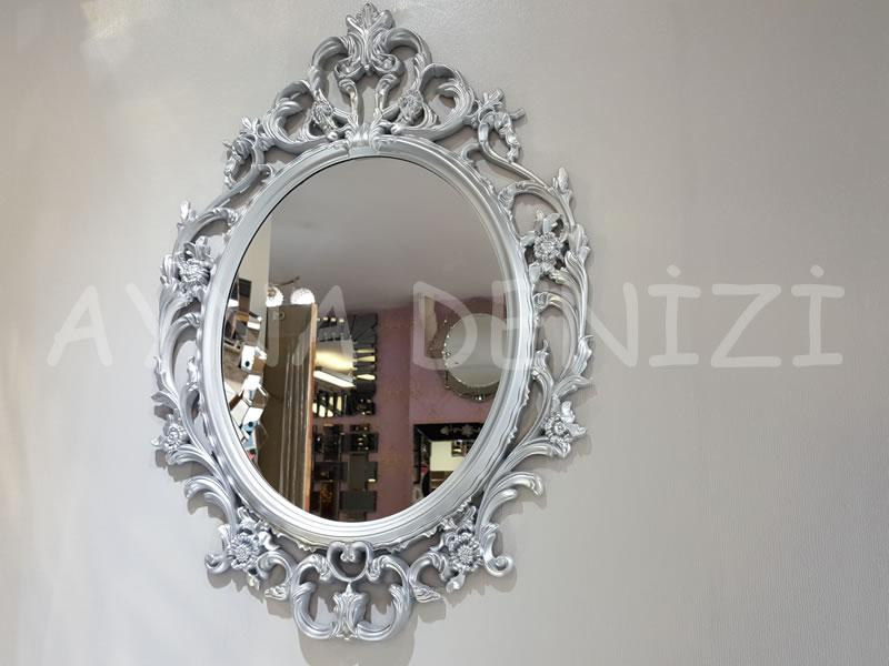 Vintage Taç Model Gümüş Renk Dekoratif Ayna