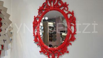 Vintage Taç Model Kırmızı Renk Dekoratif Ayna
