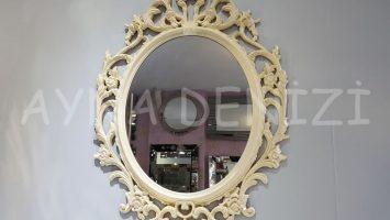 Vintage Taç Model Krem Renk Dekoratif Ayna