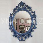 Vintage Taç Model Lacivert Renk Dekoratif Ayna-1