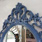 Vintage Taç Model Lacivert Renk Dekoratif Ayna-11