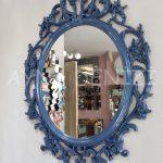 Vintage Taç Model Lacivert Renk Dekoratif Ayna-2