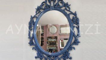 Vintage Taç Model Lacivert Renk Dekoratif Ayna