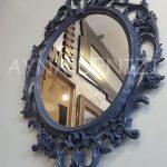 Vintage Taç Model Lacivert Renk Dekoratif Ayna-5