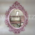 Vintage Taç Model Lila Renk Dekoratif Ayna-1