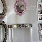Vintage Taç Model Lila Renk Dekoratif Ayna-5