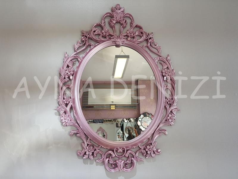 Vintage Taç Model Lila Renk Dekoratif Ayna