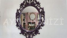 Vintage Taç Model Mor Renk Dekoratif Ayna